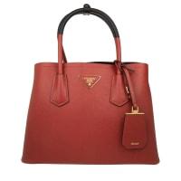 PradaHenkeltaschen - Shopping Bag Saffiano Cuir Fuoco/Nero - in rot für Damen