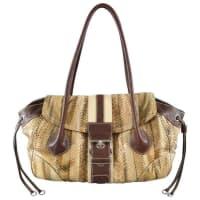 PradaTan Python Snake Skin Striped Belt Buckle Shoulder Bag