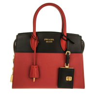 PradaHenkeltaschen - Borsa A Mano Saffiano + City Calf Fuoco/Nero - in rot für Damen