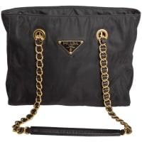 PradaVintage Black Nylon Double Chain Handle Shoulder Bag