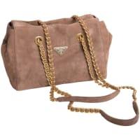 PradaVintage Suede Double Chain Handle Shoulder Bag