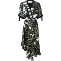 Preengeometric print wrap dress, Womens, Size: XS, Black, Silk/Cotton