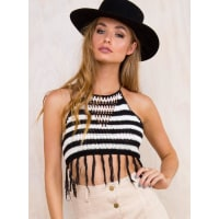 Princess PollyWomens Catch Me If You Can Crop Top Black/White 10-12