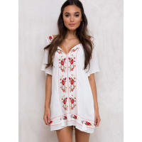 Princess PollyWomens Mama Soul Embroidered Dress White/Red 10