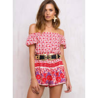 Princess PollyWomens Red Hook Off The Shoulder Playsuit Cream/Red 10