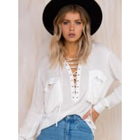 Princess PollyWomens Sea Of Air Lace Up Blouse White 10