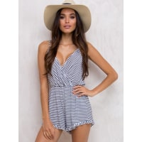 Princess PollyWomens The Convict Playsuit White/Navy 10