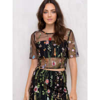 Princess PollyWomens Wild Fire Embroidered Crop Top Black 10