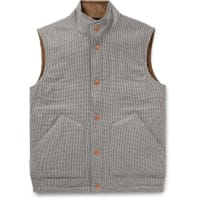 Private White V.C.Padded Checked Wool And Cashmere-blend Gilet - Brown