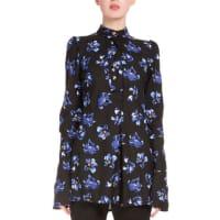 Proenza SchoulerButton-Front Floral-Print Tunic, Black/Cobalt Flower