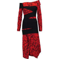 Proenza SchoulerOff-the-shoulder Flocked And Printed Crepe Midi Dress - Red