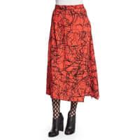 Proenza SchoulerScribble-Print Flared Skirt, Crimson/Black