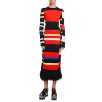 Proenza SchoulerVariegated-Stripe Long-Sleeve Feather-Hem Dress, Multi