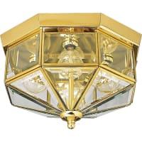 PROGRESS LIGHTINGProgress Glass Outdoor Flush Mount Lighting Fixture in Polished Brass