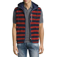 PrpsSherpa Striped Vest w/Hood, Indigo