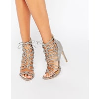 Public DesirePearl Tie Up Grey Heeled Sandals - Grey