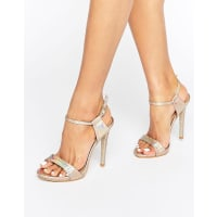 Public DesireRiya Gold Holographic Heeled Sandals - Gold