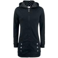 Pussy DeluxeBlack Longsweater Coat With White Dotties Lining Girl-Kapuzenjacke schwarz