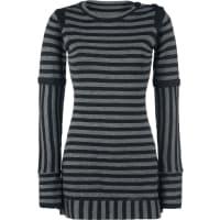 Pussy DeluxeKnit Stripe Dress Kleid grau/schwarz