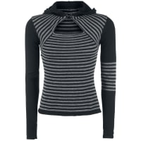 Pussy DeluxeKnit Stripes Hoodie Pullover grau/schwarz
