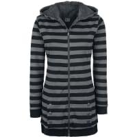 Pussy DeluxeStriped Fleece Coat Girl-Kapuzenjacke schwarz/grau
