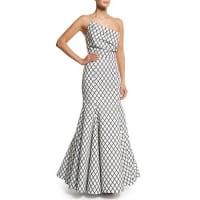 Rachel GilbertAria Diamond-Print Mermaid Gown, Black/White