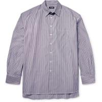 Raf SimonsOversized Striped Cotton-poplin Shirt - Gray