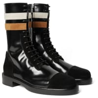 Raf SimonsSuede-trimmed Patent-leather Boots - Black