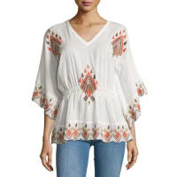 RagaEmbroidered Butterfly-Sleeve Blouse, Brown