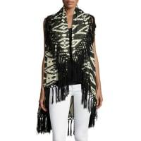 RajFringed-Hem Poncho Vest, Black