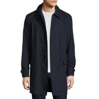 Ralph LaurenDarley Leather-Trim Raincoat, Navy