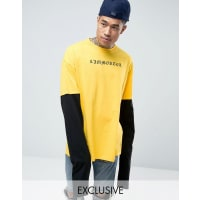 Reclaimed VintageOversized Long Sleeve T-Shirt With Text Print - Yellow