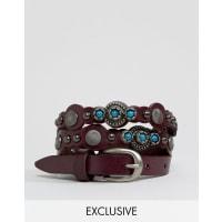 Reclaimed VintageLeather Studded Belt - Brown