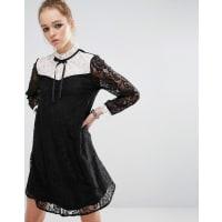 Reclaimed VintageMini Dress In Lace With Contrast Bib & Tie Neck - Multi
