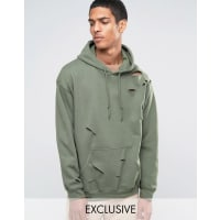 Reclaimed VintageOversized Hoodie With Distressing - Green