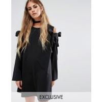Reclaimed VintageOversized Shift Dress With Cold Shoulder Bows - Black