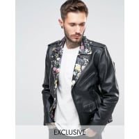 Reclaimed VintageLeather Biker Jacket With Floral Collar - Black