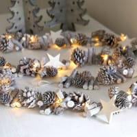 Red LillyLong Pinecones And Stars Light Garland