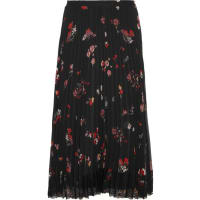 Red ValentinoPleated Floral-print Chiffon Skirt - Black