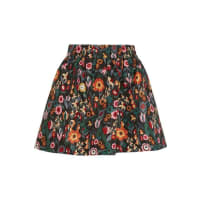 Red ValentinoFloral-print Taffeta Mini Skirt - Black