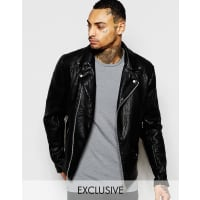 ReligionExclusive Faux Leather Jacket Biker Jacket - Black