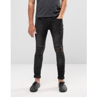 ReligionBiker Jean With Rip Repair Knee Detail in Skinny Fit With Stretch - Washed black