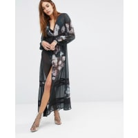 ReligionMaxi Shirt Dress With Floral Print - Jet black