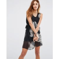 ReligionWrap Front Layer Mini Dress With Abstract Bird Print - Jet black