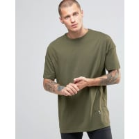 ReligionCrew Neck T-Shirt With Oversized Drop Shoulder Detail - Modern khaki