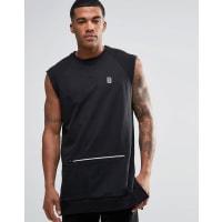 ReligionTrail Sleeveless Sweatshirt with Zip Detail Pocket - Black