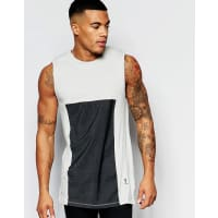ReligionSinglet with Cotton Panel Insert Detail - Grey