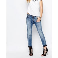 ReplayPilar Boyfriend Jeans With Exposed Button - Blue