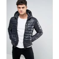 ReplayReversible Quilted Hooded Jacket in Black and Digi Print - Black