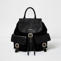 River IslandBlack leather pocket backpack